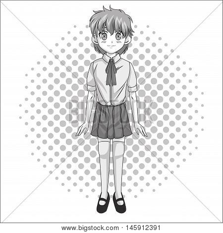 Cartoon and student girl . Anime manga and comic theme. Grey design. Pointed background. Vector illustration