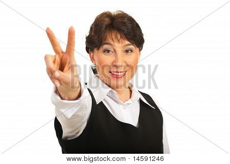 Victorious Mature Business Woman