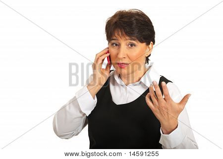 Business Woman Talking By Phone Mobile