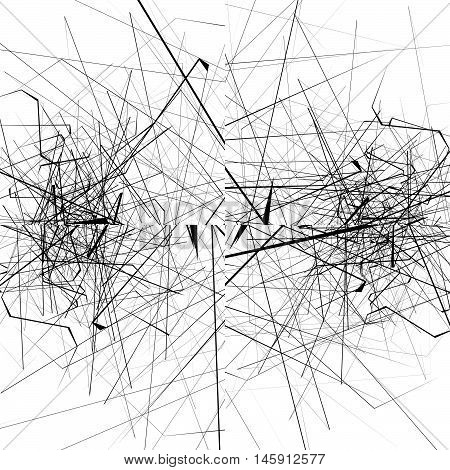 Monochrome Random Chaotic Edgy Lines Abstract Artistic Pattern