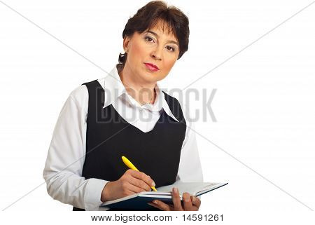 Serious Manager Woman Taking Notes