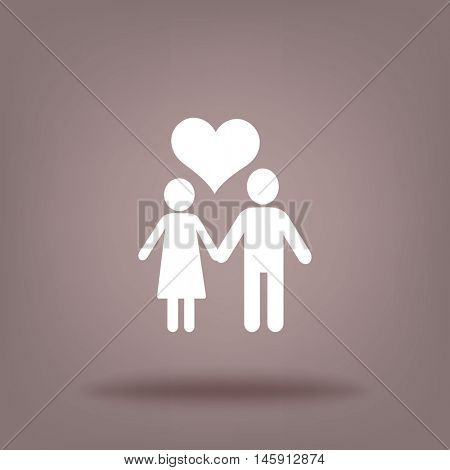 Flat icon family. Husband and wife are kept each other's hands.