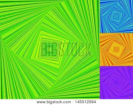 Irregular Spirals Made Of Squares. Rotating, Swirling Assymetric Geometric Pattern.