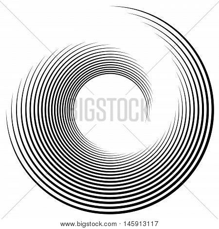 Spiral, Vortex Shape, Element. Inward Spiral Isolated On White