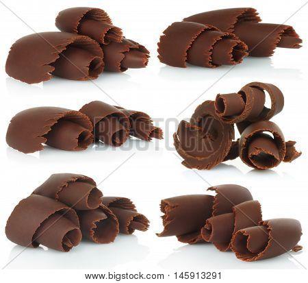 Chocolate shavings set on white background close-up