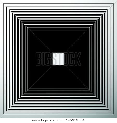 Radiating, Expanding Squares. Geometric Monochrome, Black And White Element