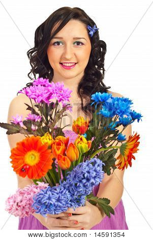 Beauty Woman Holding Spring Flowers