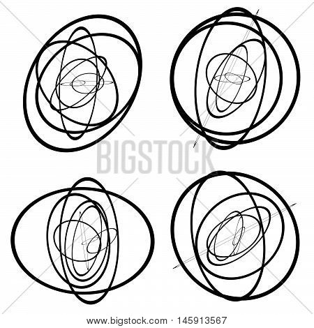 Random Circles, Ovals Forming Squiggly Lines. Abstract Artistic - Geometric Element.