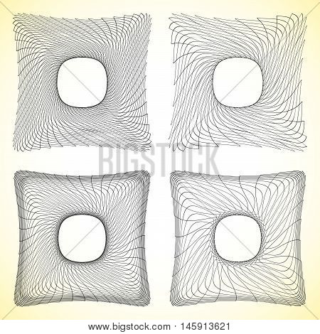 Set Of Geometric Square Elements With Intersecting Lines