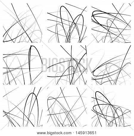 Random Lines Artistic Element / Pattern Set. Non Figural Monochrome Geometric Compositions.