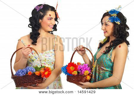 Happy Spring Women Having Conversation