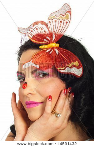 Woman With Creative Spring Make Up