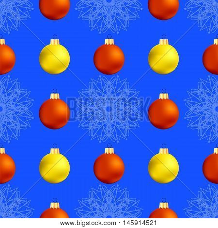 Christmas Decoration Seamless Snowflake Pattern on Blue Background