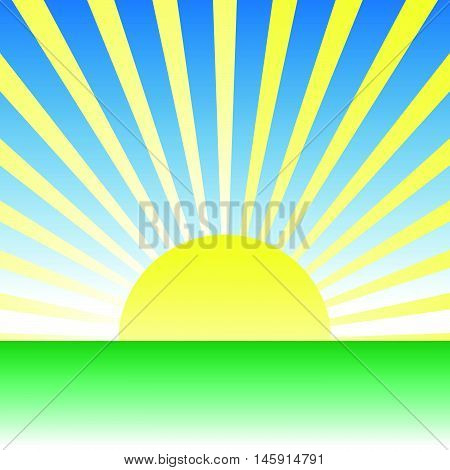 Sunrise, Dawn Over Green Meadow. Vector Drawing