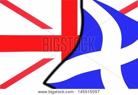 Scottish Exit Referendum Vote 02 - illustration showing Scottish Saltire being removed from Union Flag