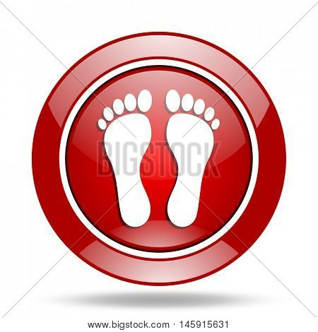foot round glossy red web icon
