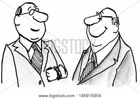 Business illustration showing two businessmen standing and smiling.