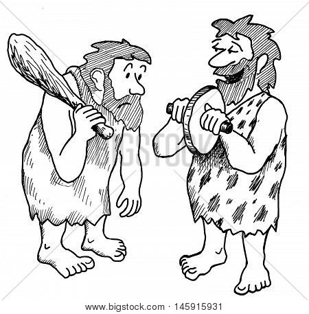 Illustration showing two cave men looking at a new invention, the wheel.
