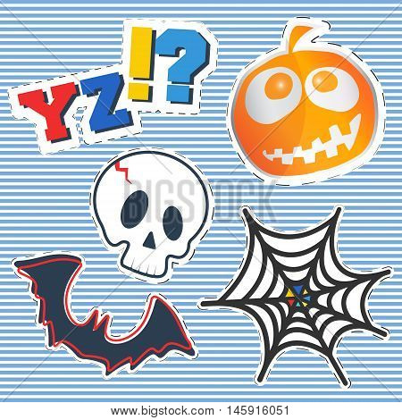 T-shirt print design. Fashion badges patches vintage stamp. Printing and badge applique label t-shirts jeans casual wear. Halloween pumpkin skull bat and cobweb. Vector illustration.
