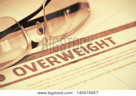 Overweight - Medicine Concept on Red Background with Blurred Text and Composition of Spectacles. 3D Rendering.