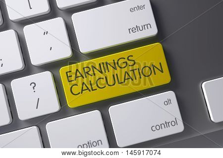 Earnings Calculation Concept: Modern Laptop Keyboard with Earnings Calculation, Selected Focus on Yellow Enter Keypad. 3D.