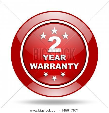 warranty guarantee 2 year round glossy red web icon