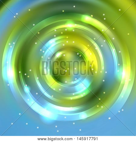 Abstract Circle Background, Vector Design. Glowing Spiral. The Energy Flow Tunnel. Green, Blue, Whit