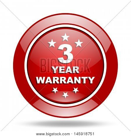 warranty guarantee 3 year round glossy red web icon
