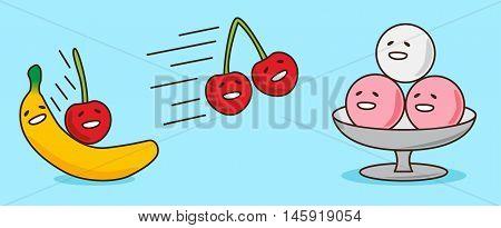 fruit cartoon , banana cherry and ice-cream , vector