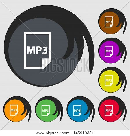 Mp3 Icon Sign. Symbols On Eight Colored Buttons. Vector