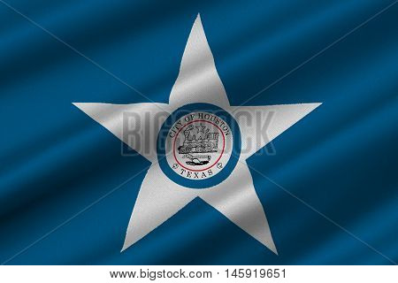 Flag of Houston city in Texas United States. 3D illustration