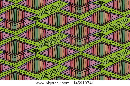 Vector decorative ornamental geometric background with rhombus in black and lime colors. Series of Seamless Geometrical Ornamental Patterns.