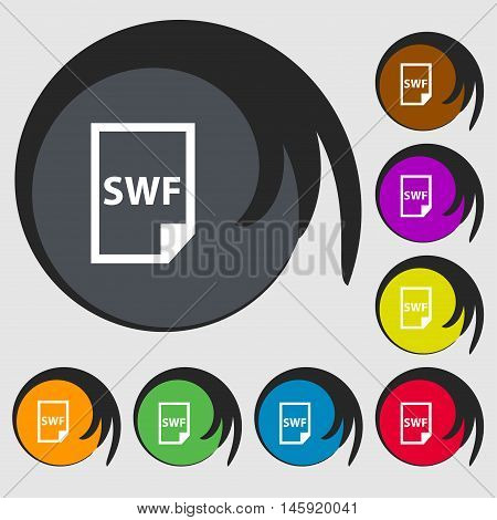 Swf File Icon Sign. Symbols On Eight Colored Buttons. Vector