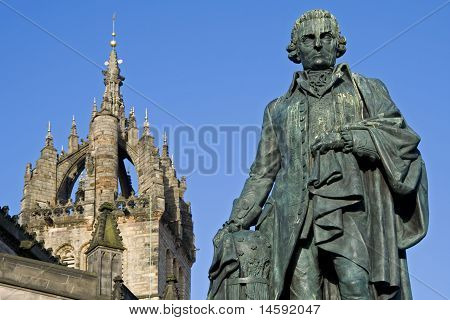 Adam Smith Monument and St Giles Cathedral Scotland
