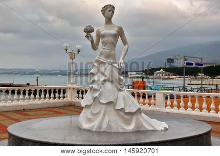 GELENDZHIK, RUSSIA - NOVEMBER 7, 2015: Symbol of city-resort of Gelendzhik - sculpture of White Bride on November 7, 2015 in city-resort Gelendzhik, Russia