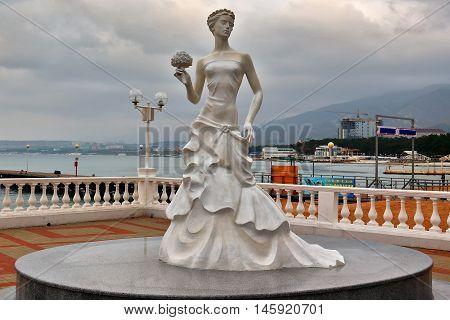 GELENDZHIK, RUSSIA - NOVEMBER 7, 2015: Symbol of city-resort of Gelendzhik - sculpture of White Bride on November 7, 2015 in city-resort Gelendzhik, Russia