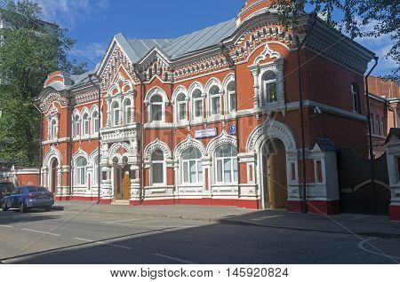 MOSCOW RUSSIA - JULY 31 2016: The house built in pseudo-Russian style. 17 Bolshoy Rogozhsky lane Moscow Russia. Sunny July morning.