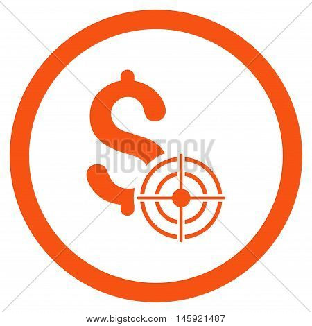 Business Target rounded icon. Vector illustration style is flat iconic symbol, orange color, white background.