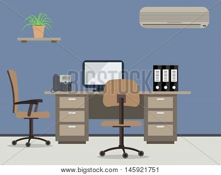 Workplace of office worker. There is the desktop, a chairs, the  computer, a phone, conditioner, folders and other office objects in the picture. Vector flat illustration