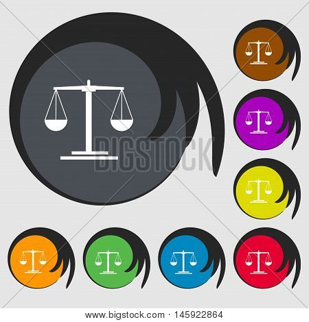 Scales Icon Sign. Symbols On Eight Colored Buttons. Vector
