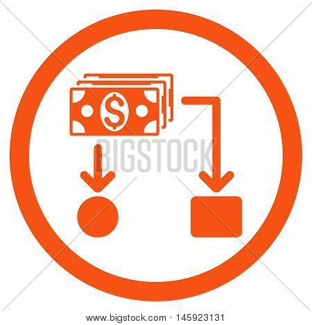 Cashflow rounded icon. Vector illustration style is flat iconic symbol, orange color, white background.