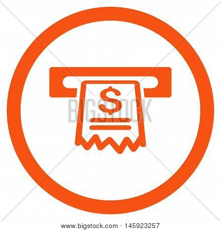 Cashier Receipt rounded icon. Vector illustration style is flat iconic symbol, orange color, white background.