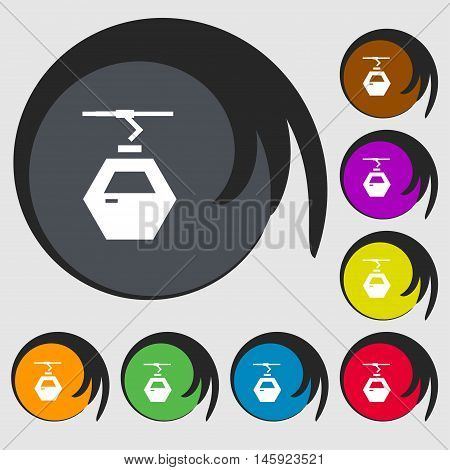 Cableway Cabin Icon Sign. Symbols On Eight Colored Buttons. Vector