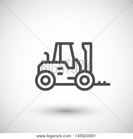 Forklift loader line icon isolated on grey. Vector illustration