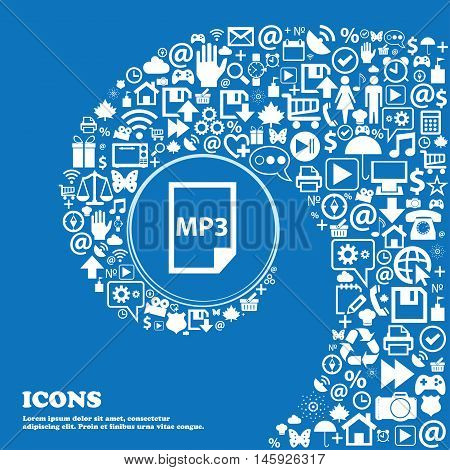 Mp3 Icon . Nice Set Of Beautiful Icons Twisted Spiral Into The Center Of One Large Icon. Vector