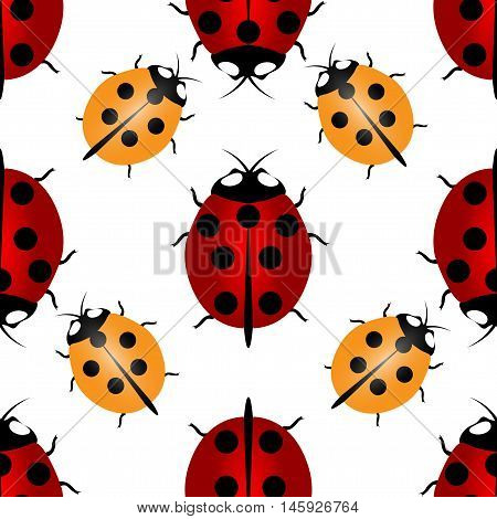 Red and yellow ladybugs with seven and five points on the back - for happiness, seamless pattern. Ladybird endless pattern. Vector illustration