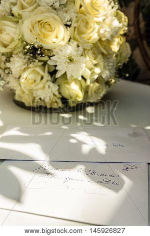 Wedding Letter Flowers Gift Guests Envelope Table Daytime Indoor