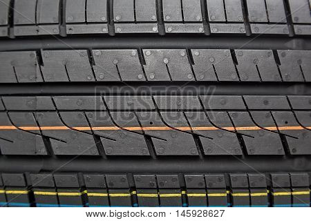 Tread car tires as the a background.