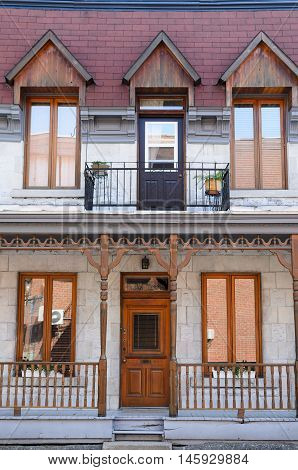 Traditional front entrance of the house in Montreal
