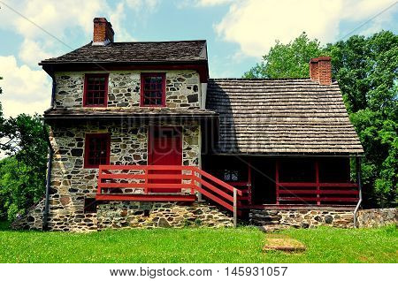 Chadds Ford Pennsylvania -June 9 2015: The Gideon Gilpin House used by the Marquis de Lafayette as his headquarters during the 1777 Revolutionary War Battle of the Brandywine *